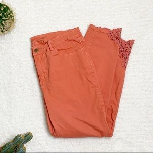 Soft Surroundings Touch of Lace Jeans Peach Size14